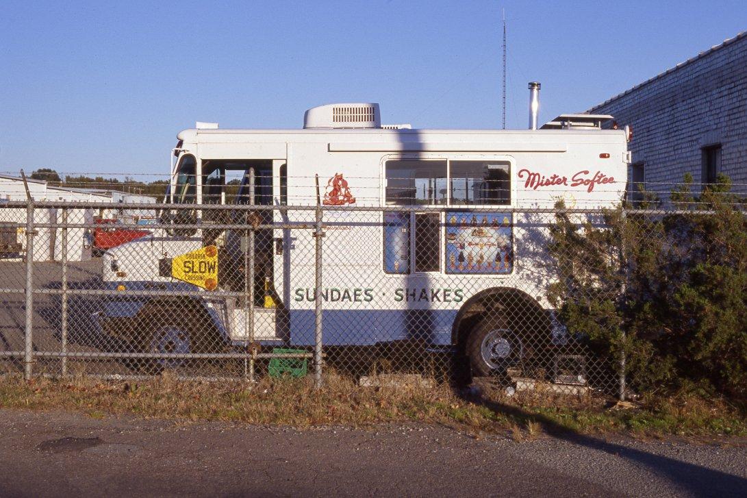 A well-protected Mister Softee truck photographed during the golden hour on Kodak's new Ektachrome E100 slide film.