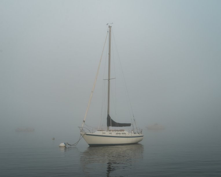 Digital. Moored sailboat at the South Shore Yacht Club in Bayview, a neighborhood of Milwaukee, WI. We were supposed to see fireworks on a cousin's boat, but Lake Michigan and a dense fog advisory had other plans!