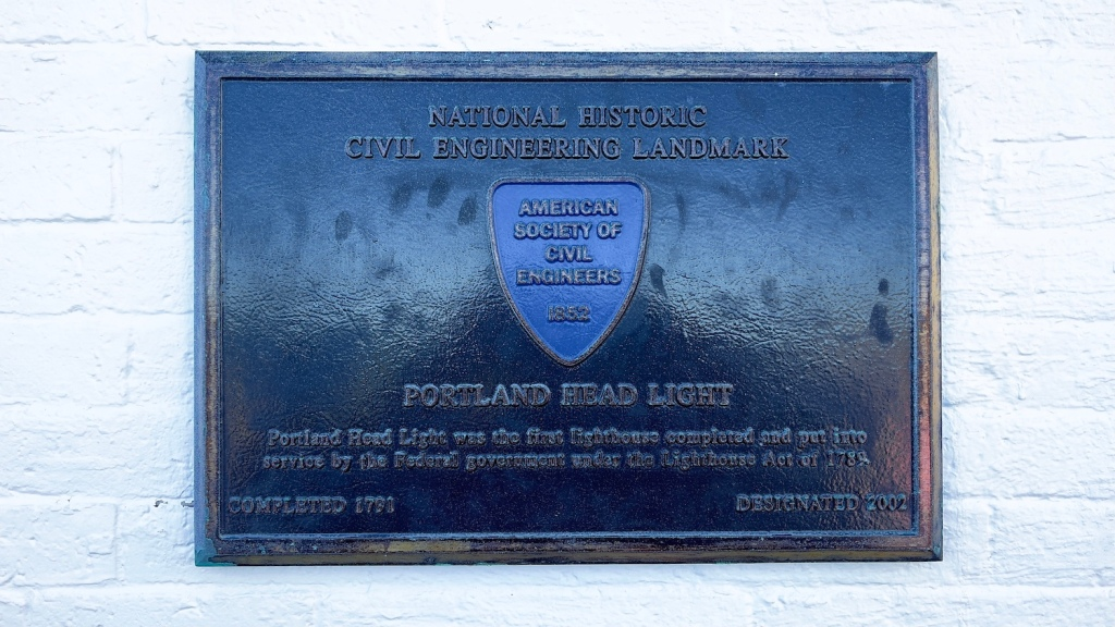 Plaque indicating the lighthouse is a National Historic Civil Engineering Landmark