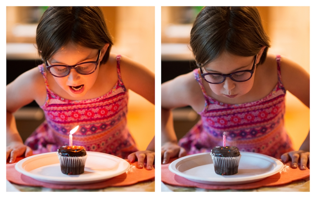 two images: on the left my daughter starts to blow out a candle in a cupcake, on the right she has blown out the candle