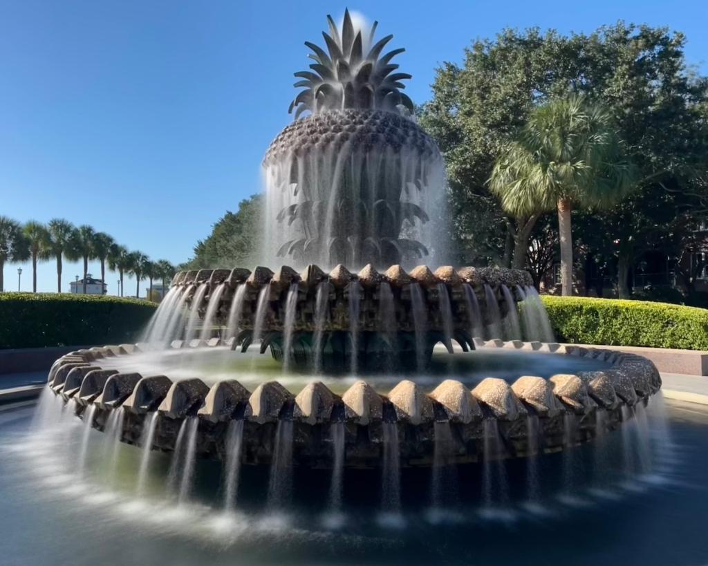 Palmetto fountain in Waterfront Park, Charleston, SC