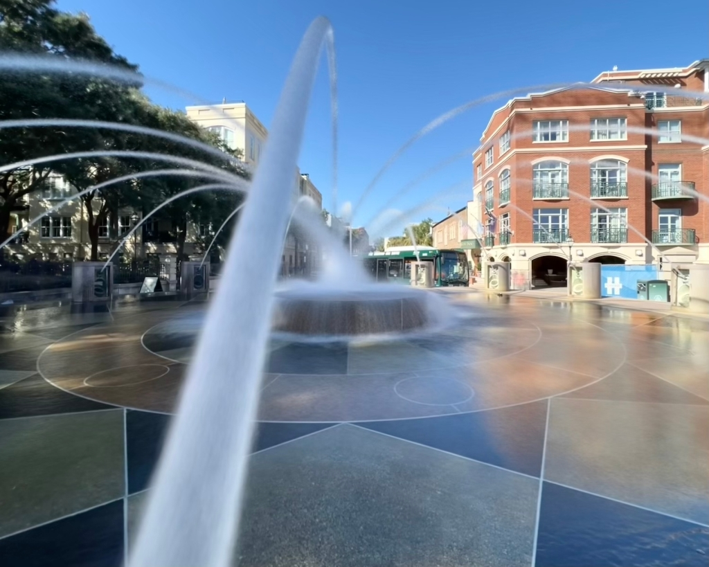 Modern fountain in Waterfront Park, Charleston, SC