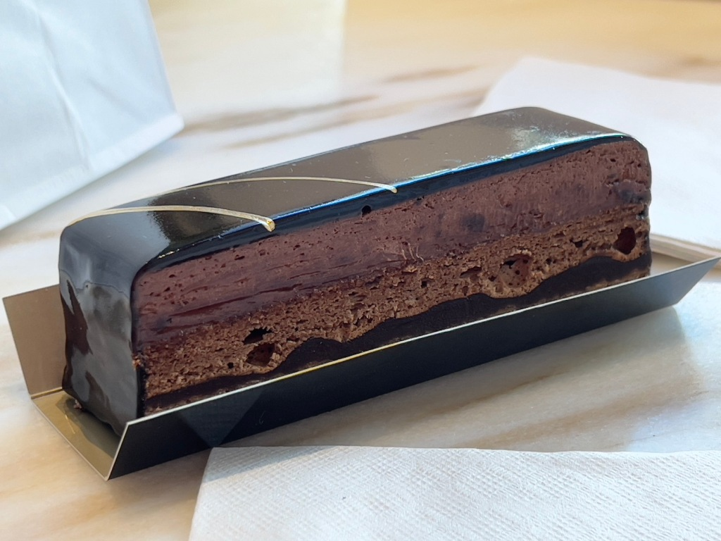 A royal chocolate pastry from La Patisserie in Charleston, SC