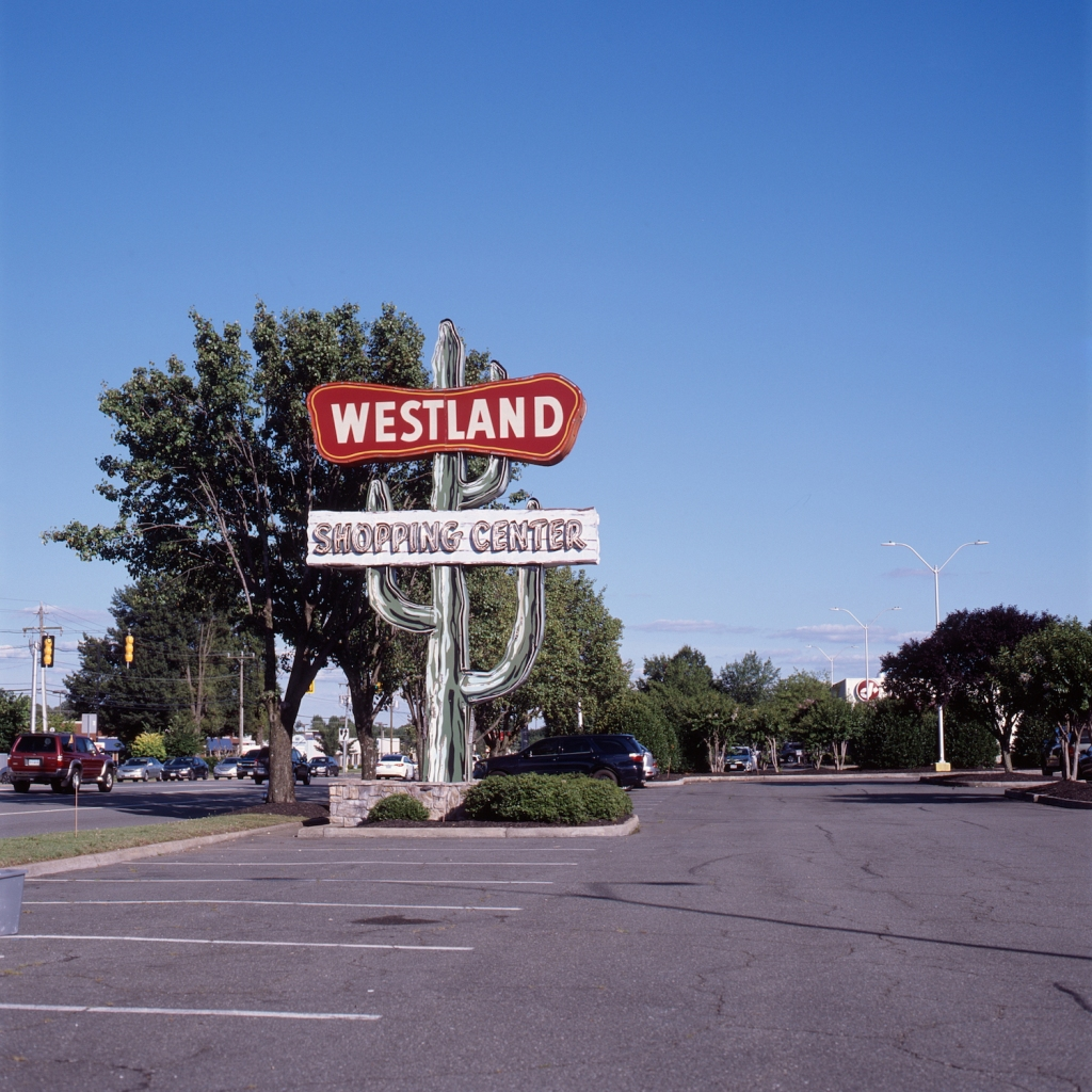 Westland Shopping Center cactus sign on West Broad Street in Henrico, VA.