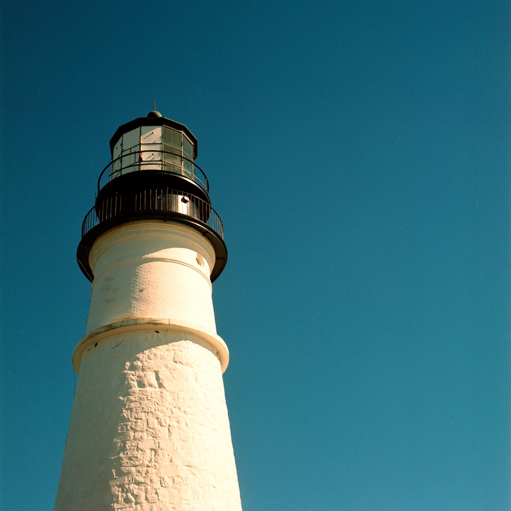 The top of the Portland Head Light (lighthouse) in Maine