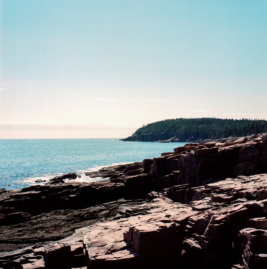 Cliffs and rock formations near Thunder Hole in Acadia National Park, ME.