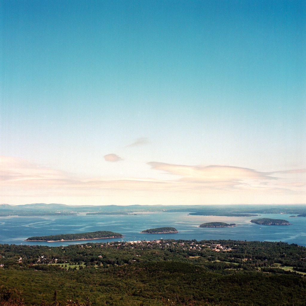 Bar Harbor as viewed from the top of Cadillac Mountain in Acadia National Park, ME.