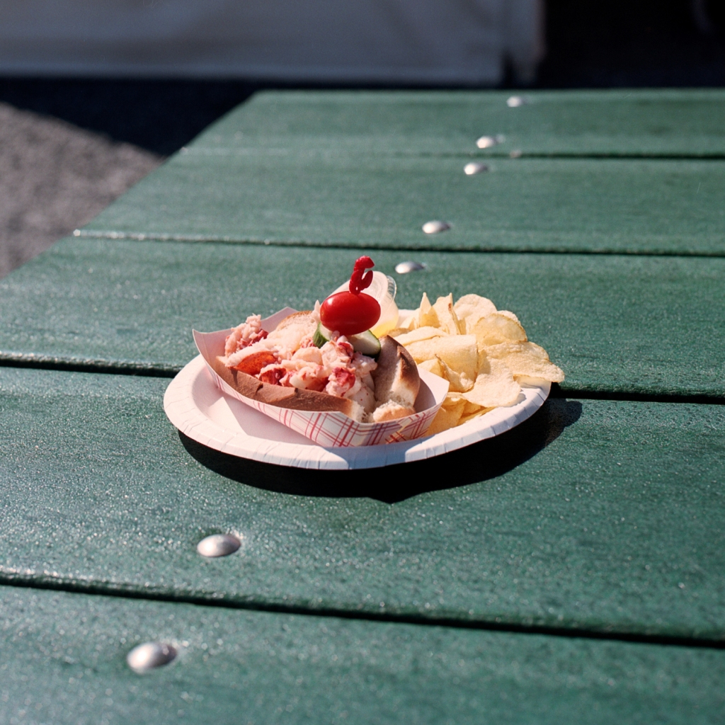Hot lobster roll and potato chips at Trenton Bridge Lobster Pound near Acadia in ME.