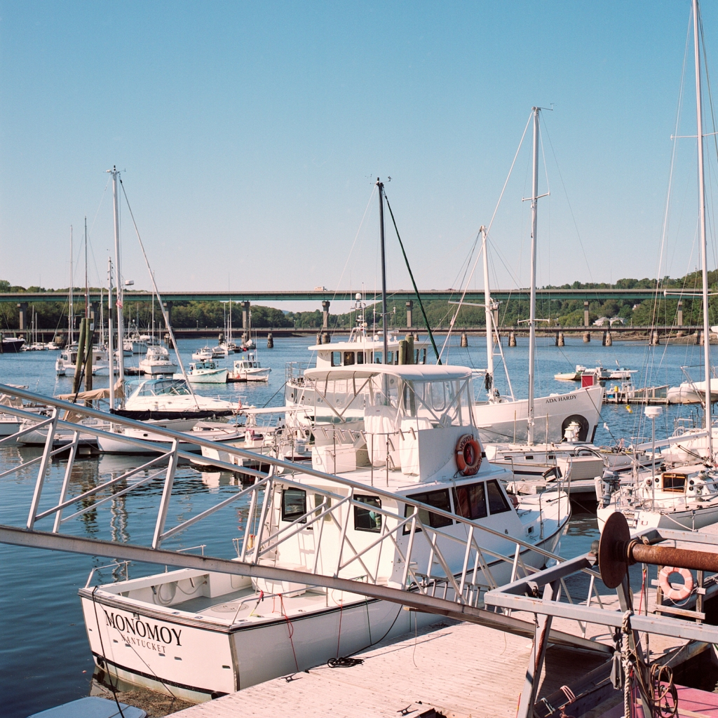 Boats in a marina on the Passagassawakeag River in Belfast, ME.